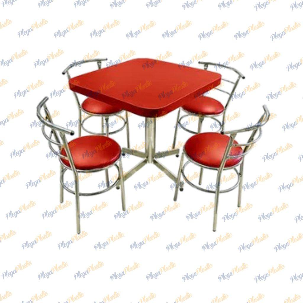 Juego de mesa para restaurante y silla chabely cromada 1