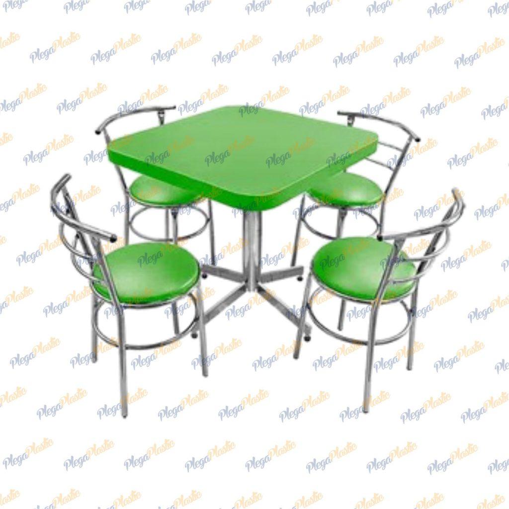 Juego de mesa para restaurante y silla chabely cromada 2