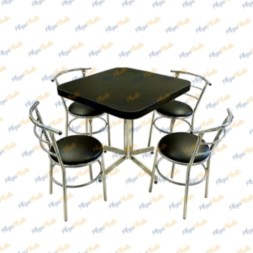Juego de mesa para restaurante y silla chabely cromada 4